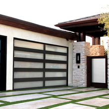 Contemporary Opaque Glass Sectional Garage Door