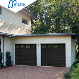 Premium Residential Insulated Ribbed Metal Overhead Garage Doors with Pedestrian Door