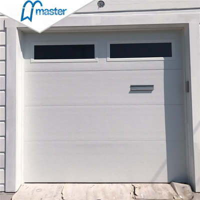Modern Commercial Full View Light Grey Galvanized Steel Overhead Sectional Garage Doors