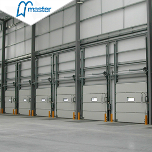 Fast Action PU Foam Secure Insulated Industrial Sliding Doors with Glass