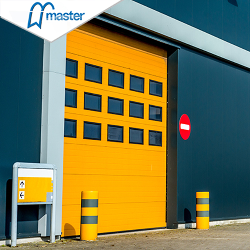 Automatic Wind Proof Steel Overhead Sectional Industrial Doors with Windows